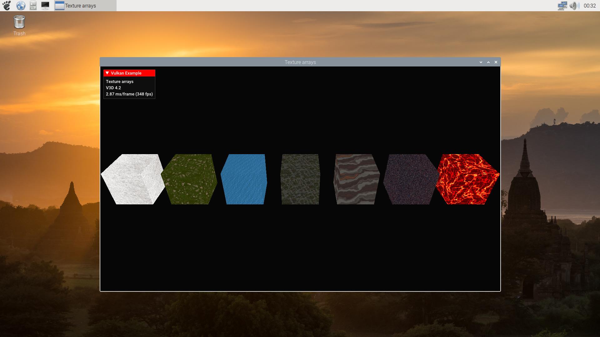 Sascha Willems texture array demo run on rpi4