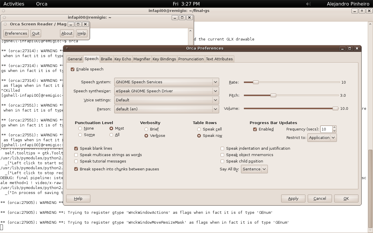 orca running on gnome-shell